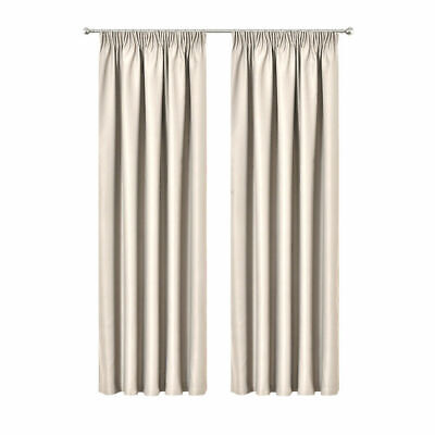 Art Queen 2X Blockout Curtains Pinch Pleat Blackout Room Darkening SD 240x213cm