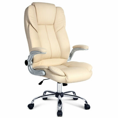 New Executive Premium Office Chair Faux Leather Retractable Armrests Seat Beige