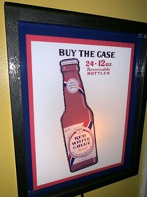 Red White and Blue Beer Bar Tavern Man Cave Lighted Advertising Sign