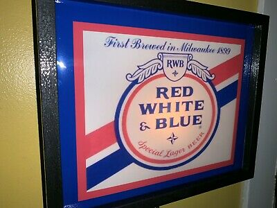 Red White and Blue Beer Bar Tavern Man Cave Sideways Lighted Advertising Sign