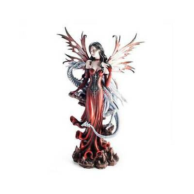 Mystical Large Red Fairy with Dragon Gothic Statues Display Ornament Fairies