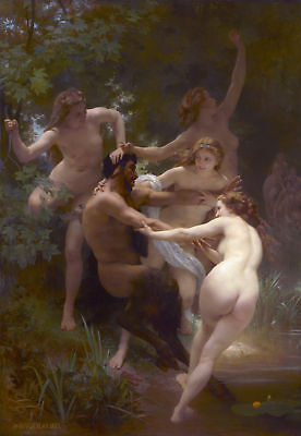 Handmade Oil Painting repro William Adolphe Bouguereau Nymphs and Satyr