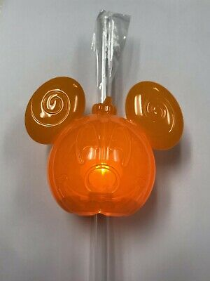 NEW Disney Parks 2019 Mickey Mouse Halloween Pumpkin LU Bottle Topper & Straw