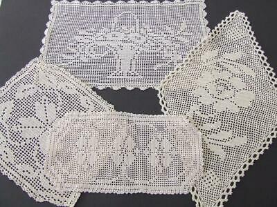 Four Beautiful Cream/Ecru Hand Crocheted Vintage Doilies Including One Sandwich
