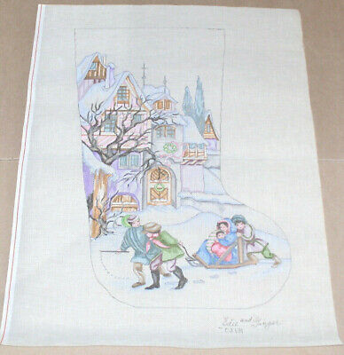 Edie & Ginger Victorian Children / Village Christmas Stocking Needlepoint Canvas