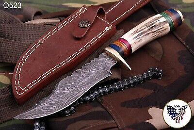 Custom Hand Forged Damascus Steel Hunting Knife W/ Stag Handle - Q 523