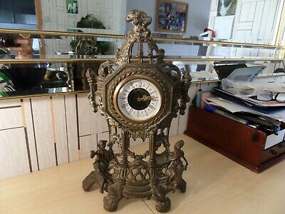 """Very Nice Unusual Brass ? Mantle Clock With Period Wind Up Movement, 14.25"""" High"""
