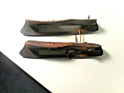 Antique 19Th C Primitive Steel & Wood Ice Skates 11 1/2 Inch Union Hardware