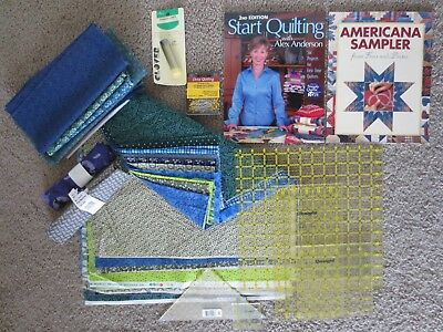 Quilting Lot : Omnigrid Rulers, Vintage Fabric, Fons & Porter, Booklets, Notions