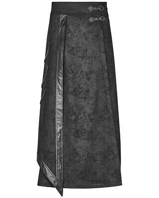 Punk Rave Mens Long Gothic Skirt Kilt Black Dieselpunk Apocalyptic LARP Chains