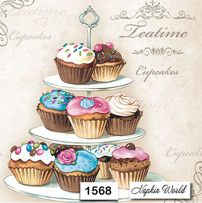 (1568) TWO Individual Paper Luncheon Decoupage Napkins - CUPCAKES SWEETS SCRIPT