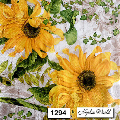 (1294) TWO Individual Paper Luncheon Decoupage Napkins - SUNFLOWERS