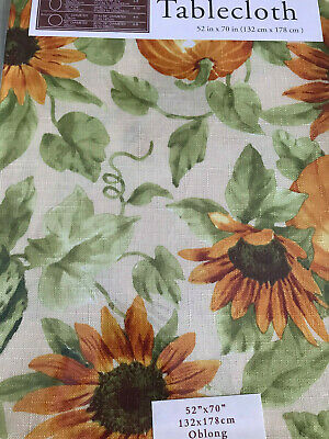 "Fall Harvest Tablecloth 52"" X 70"" Oblong Easy Care Nip Sunflower Pumpkins"