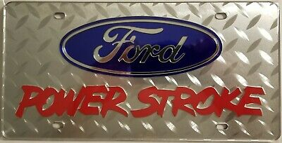 Ford Power stroke Logo on Mirrored Diamond Plate Acrylic License Plate Tag