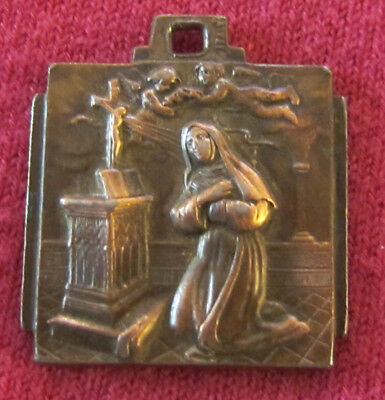 Antique Catholic Religious Holy Medal - Saint Christopher // Blessed Virgin Mary