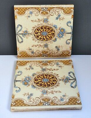 Pair of Original Victorian MINTON Fireplace Tiles - Ceramic / Antique. Ornate