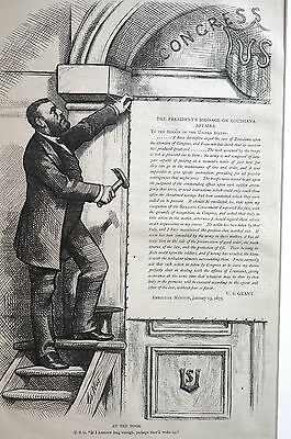 Thomas Nast Letter to LOUISIANA President GRANT at DOOR Matted Antique Art Print