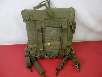 WWII US Army OD Green M1944 Upper Combat Field Pack - Dtd 1944 - w/Suspenders #1