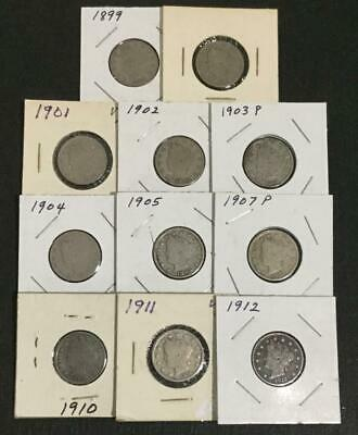 """1899-1912 US LIBERTY """"V"""" Nickels Set of 11 Different Carded Coins! Nice Starter"""