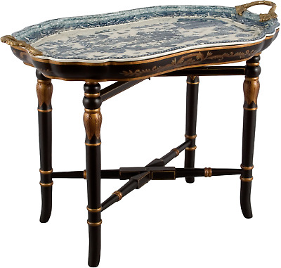 New Porcelain Bronze Blue Willow Tray Table Chinese Oriental Blue White