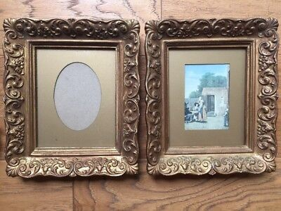 "Set of 2 Beautiful Vintage Ornate Picture Frames Gold Gilt Gesso Exterior 7""x 6"""