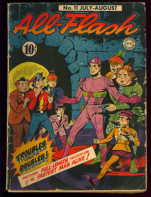 All-Flash #11 Unrestored Golden Age DC Comic 1943 GD