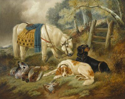 """perfect 36x24 oil painting handpainted on canvas""""horse,dogs,prey """"N10192"""
