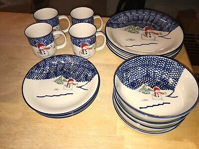 Thomson Pottery Snowman Bowls Mugs Salad Dinner Plates Buy By Piece