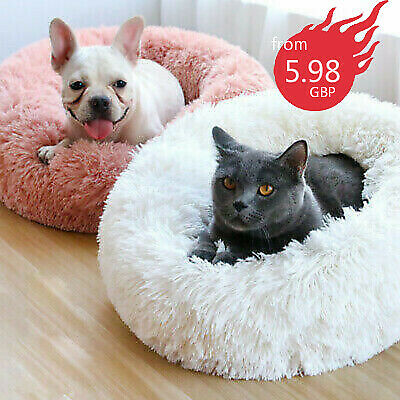 Pet Dog Cat Calming Bed Warm Plush Round Nest Comfy Sleeping Kennel Cave UK do1