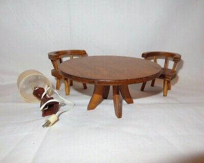 Doll House Furniture Wooden Table Chairs and Lamp