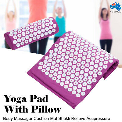 Acupressure Massage Yoga Mat w/ Pillow for Stress/Pain/Tension Relief Body relax