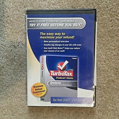 2007 TurboTax Deluxe Federal And State Tax New sealed CD  Box Windows and Mac