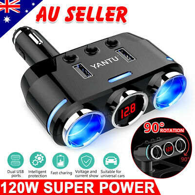 2 Way Cigarette Lighter Socket Splitter 12V Double USB Charger Power Adapter Car