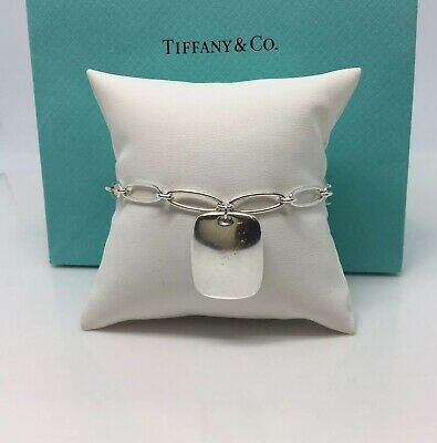 Authentic-Tiffany & Co. Elsa Peretti Square Tag Charm Bracelet-7""