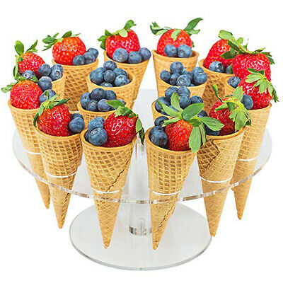 16Cones Acrylic Transparent Ice Cream Cone Holder Top Display Stand Rack Counter