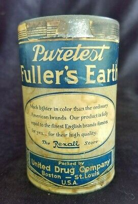 Old Advertising Medicine Container Puretest Fuller's Earth Powder United Drug Co