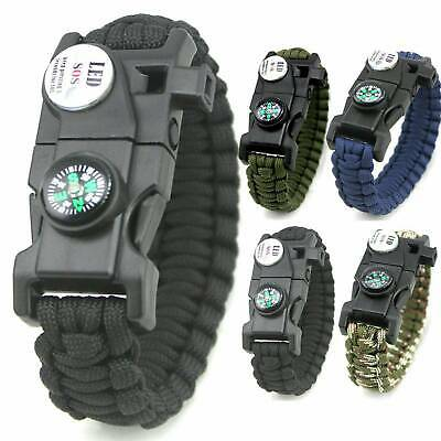 20 in1 Outdoor Paracord Survival Watch Bracelet With Flint Fire Starter Compass