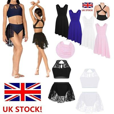 UK Girls Ballet Dance Outfit Kid Gymnastics Leotard Lace Crop Tops+Skirt Costume