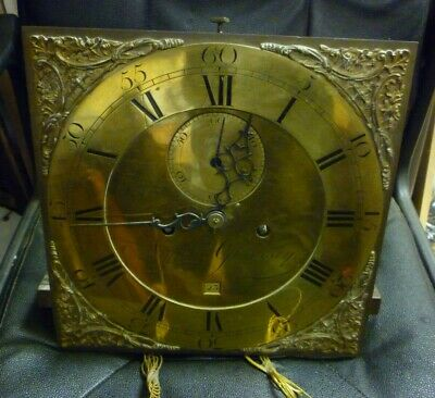 Rare 18th Century Guernsey 8 Day Brass 12ins Dial Longcase Clock Movement