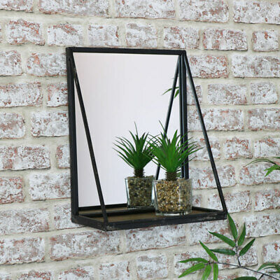 Black metal wall mirror rustic wooden shelf industrial vanity bedroom bathroom