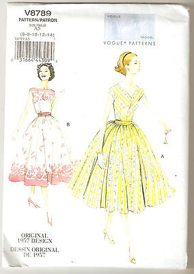 Vogue Pattern V8789 Vintage 1957 Miss Petite Dress and Cummerbund Sz 6-14