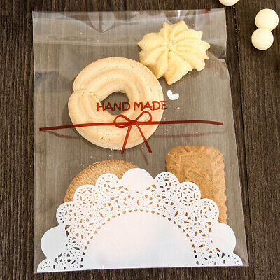 100Pcs Self-Adhesive Transparent Cookie Packaging Bag Wedding Snack Candy Pouch