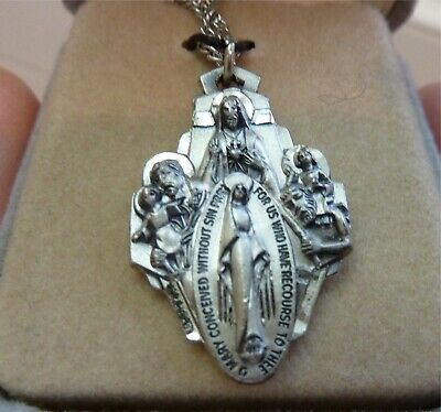 VINTAGE MALCO STERLING SILVER MIRACULOUS MEDAL RELIGIOUS VIRGIN MARY Creed Chain
