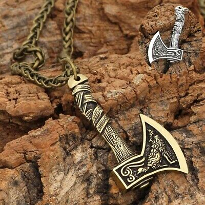 Necklace Wolf Amulet Vintage Gifts Silver/Bronze Men's Viking Norse Axe Pendant