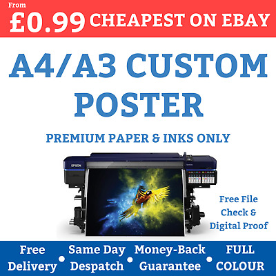 Custom Poster Printing Personalised A3 A4 Print Service Cheap Premium Paper -99p