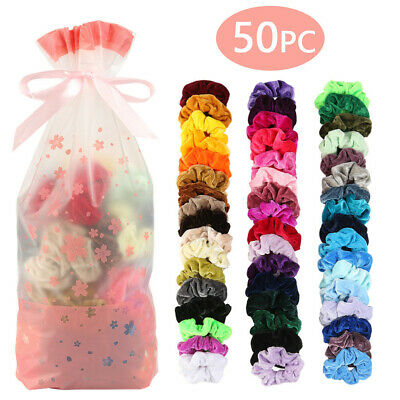 50 Pcs Hair Scrunchies Velvet Elastic Hair Bands Scrunchy Hair Ties Ropes Scrunc