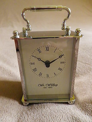 Small Palladium Plated Carriage Mantel Clock With Roman Numeral Dial.new.