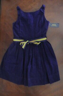 NWT Ralph Lauren Girls Purple Corduroy Fit & Flare Dress W/Sash Sz 12 NEW $75