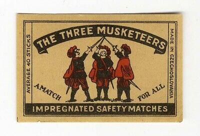 Three Musketeers MATCHBOX LABEL Czech Safety Matches Czechoslovakia