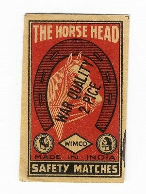 Horse Head MATCHBOX LABEL India WAR QUALITY Over Stamped HORSESHOE Wimco Brand